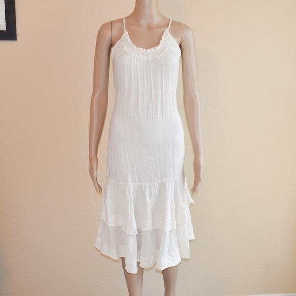 7ee6eba2 Diesel Dresses & Skirts - Diesel White Cotton Tiered Ruffle Hem Sheath Dress